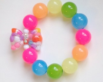 Candy Rainbow - Bright Bead Stretch Bracelet with Colorful Gumdrop Bow Charm