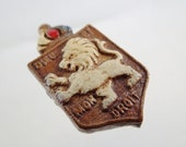Vintage Bombed Wood Made in England Memorial Brooch Pin World War II St. Dunstans White Lion