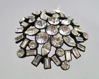 FREE Shipping Vintage Black Star Pot Metal Rhinestone Flower Burst Brooch Pin