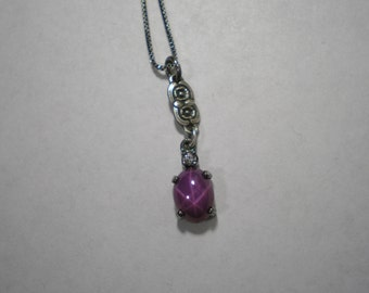 New Repurposed Vintage Style Pink Star Sapphire Pendant Necklace 18 Inches