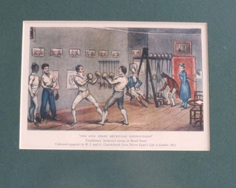 Vintage Framed Tom and Jerry Boxing / By Cruickshank / Published in Life in London / 1821
