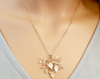 ROSE GOLD Family Tree Necklace, Personalized Necklace for Mom, Family Tree Jewelry, Mothers Day Jewelry, Gift for Mom Initial Family GIFT