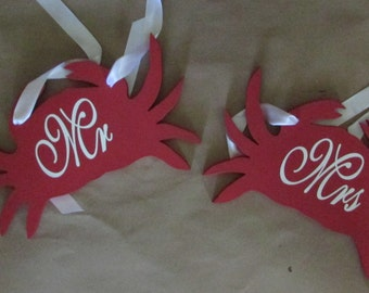Beach Crab Wedding Chair Sign for Mr. and Mrs. Back hanging wedding sign