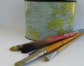 vintage waste basket, desk caddy, pencil holder, office organizer, world map, globe, 1957