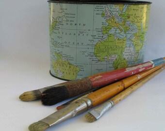 vintage waste basket, desk caddy, pencil holder, office organizer, world map, globe, 1957