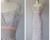 r e s e r v e d / 50s lace wiggle dress size xs / vintage tape lace and silk dress