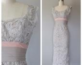 50s lace wiggle dress size xs / vintage tape lace and silk dress