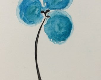 Original Water Color Painting, 6X8, Clover, Blue, Black, Flower