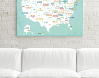 Usa Map Canvas Art Travel Map Travel Art Decor Gender Neutral
