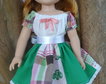 """14.5"""" Doll Clothes Patchwork Skirt Set and Knit Hat Fits American Girl Wellie Wishers Willa, Camille, Emerson, Kendall, Ashlyn"""