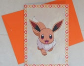 pokemon greeting card - eevee - kawaii notecards - otaku