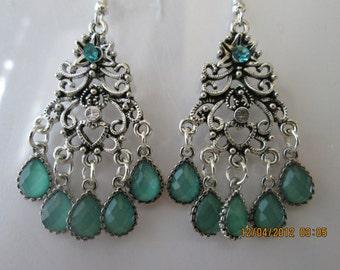 Silver Tone Chandelier Earrings with Aqua Green and Silver Teardrop Bead Dangles
