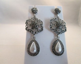 Lacy Silver Tone Post Dangle Earrings with a White Teardrop Center Pearl