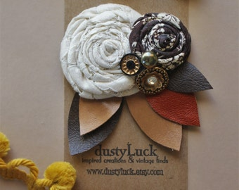 Rustic Flower Hair Clip // Recycled Leather Mustard and Floral Hair Clip // Ready to Ship Hair Clip