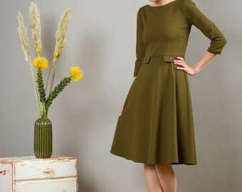 "Dress ""Elisa"", with a round skirt in moss green"