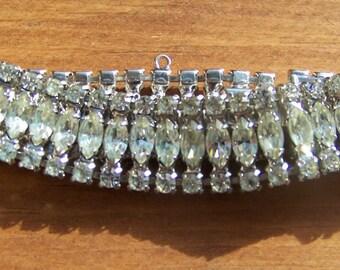 Vintage B. David Rhinestone Bracelet.Clear Rhinestone Bracelet.Clear Rhinestone Jewelry. B. David Bracelet. Wedding Jewelry.Something Old.
