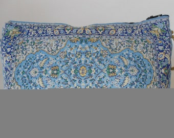 Blue Floral Pouch, Ethnic Clutch Bag, Makeup Pouch, Simple Clutch Bag, Travel Bag, Make up Bag, Mother's Day Gift,  Toiletry Bag