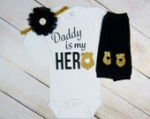 Police Baby Girl Clothes Outfit Police Dad Wife Gift Black Gold Headband Leg Warmers Gold Newborn Take Home Outfit Daddy Is My Hero or Mommy