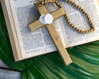 Prayer Cross/Blessing Beads Cross/Rosary Style Beaded Seashell Cross/Beach Wedding Cross/ Symphathy Cross