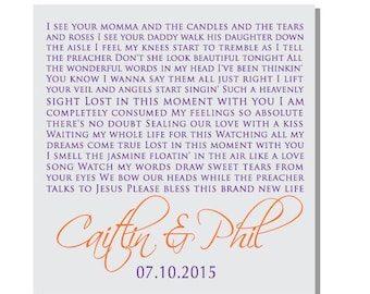 Lost in this moment, Big & Rich song Lyrics on Canvas, Wedding Gift, Anniversary, Personalized Word Art