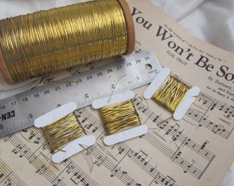 Metal Thread Rare Antique French Early Century Gold Flat Metal Thread - 3 yards total - More Available