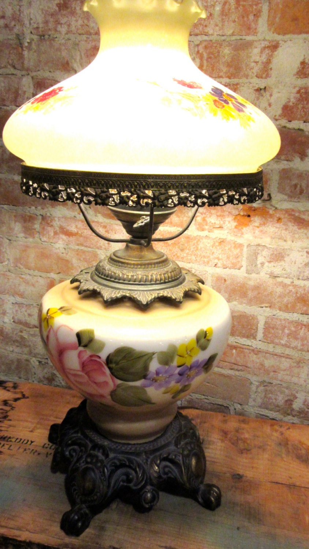 Hurricane Lamp Milk Glass Hand Painted Electric