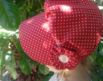 Size 3-5 Antique Red with Cream Dots Toddler Bonnet, Prairie Costume, Pioneer Bonnet, Baby Christmas Hat