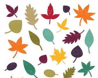Fall Foliage Clip Art | Simple Tree Leaf Silhouette Autumn Color Graphic | Digital Illustration Stock Icons | Personal or Commercial Use