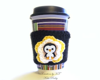 Penguin Cup Cozy Crochet Coffee Flower Reuse