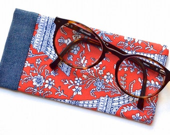 Eyeglasses Case - Sunglasses Case - Cotton Fabric and Denim - The Eiffel Tour - Travel - Handmade