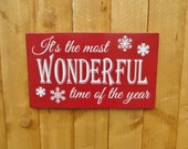 It's the Most Wonderful Time of the Year rustic hand painted Christmas sign