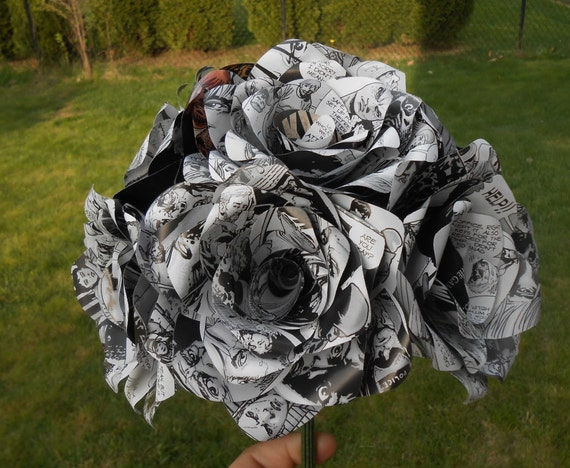 Made from recycled comics, this bouquet is all black and white zombie rose flowers
