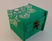 Box- Wooden Box- Hand painted box- Home Decor- Painted box- Boxes- Teal box-