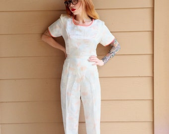 Stunning Silk Tie Dye Floral Satin Two Piece Top and Pant Jumpsuit // Women's size Medium M 28 29