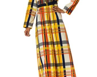1980s Plaid Long Sleeve Jacket Dress  Size: S/M