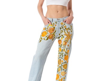 Vintage 1990s style Levis Hippie Boho Floral hand  Embroidered Washed Jeans