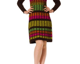 1960s Mod Rainbow Knit Long Sleeve Turtleneck Wool Dress SIZE: XS, 4