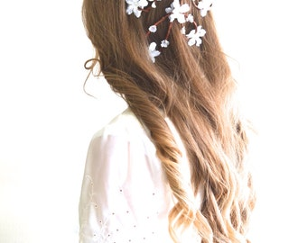 Flower head wreath, Cascading flower head piece, Wedding hair accessories, Cascade flower crown, Flower crown, Flower hair comb, Festival