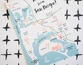 San Diego Map Postcard, illustration drawn coast California modern landmarks roads beach sun Coronado downtown souvenir travel