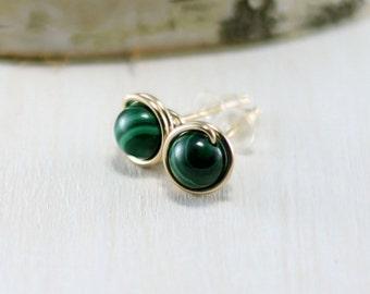 Malachite Earrings, 14k Gold Filled Green Stone Yellow Gold Malachite Stud Earrings Wire Wrapped Post Earrings