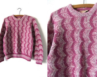 Alpaca Wool Abstract Sweater - Minimalist Chic Vintage Geometric Patterned Coogi Style Jumper - Womens Small