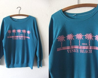 Venice Beach Vintage Sweatshirt - Surfer Style Slouchy fit Muscle Beach Boho Chic Scoop Neck Jumper - Baggy Womens Medium