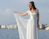 Wedding Dress, Grecian Wedding Gown, Long Bridal Dress, Lace Ivory Gown, Ivory Wedding Dress, Open Back Dress Handmade by SuzannaM Designs