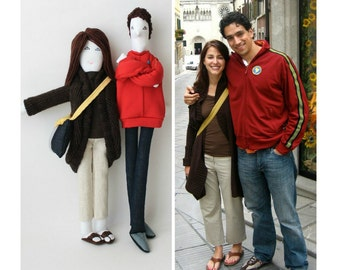 Personalized couple fabric dolls, custom portrait cloth dolls, dolls from picture, unique engagement anniversary wedding gift for couples
