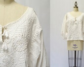 Reserved for Meg-Vintage Embroidered White Cotton Bishop Sleeve Boho Peasant Blouse