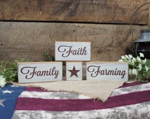Family Faith Farming with Star 4 peice solid wood block set rustic antiqued and distressed, stack the way you want, farmer gift