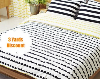 3 Yards Discount - Half Moon Cotton Fabric, Black and White Fabric, Geometric Fabric - Fabric By the Yard
