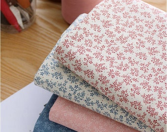 Mini Flowers and Leaves Cotton Fabric - 4 Colors - By the Yard 86500