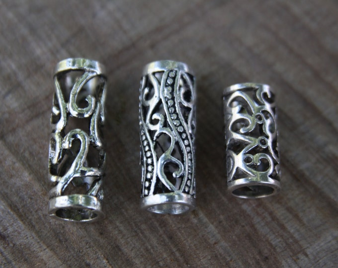 Set of 6 Tibetan Silver 8mm Hole (5/16 Inch)