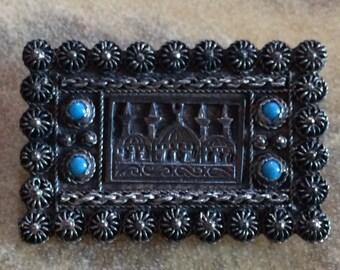 Antique C Clasp Handmade .900 Silver Brooch Pin